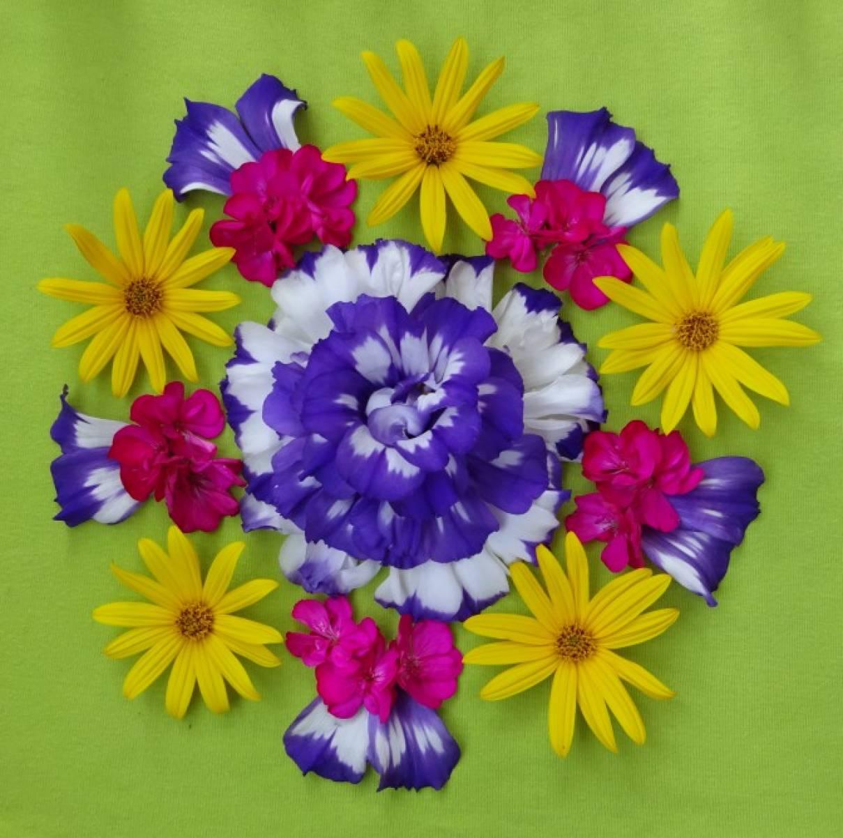поделки из живых цветов для детей
