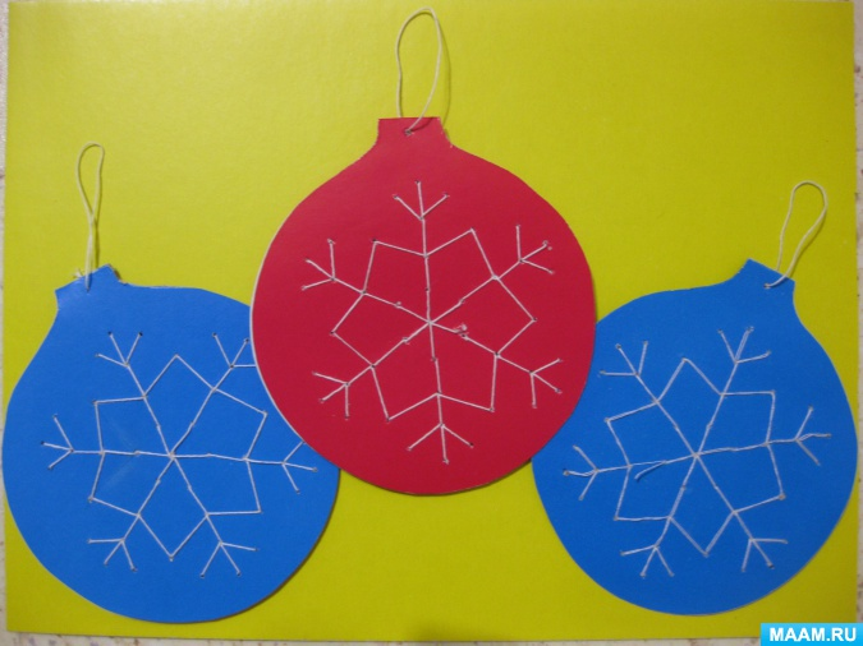 Мастер-класс по вышивке на картоне «Новогодний шар»