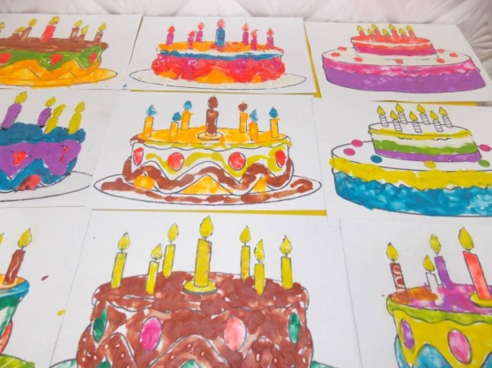 Нарисуй торт тема