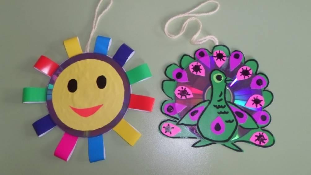 Поделки из дисков на веранду в детском саду 17