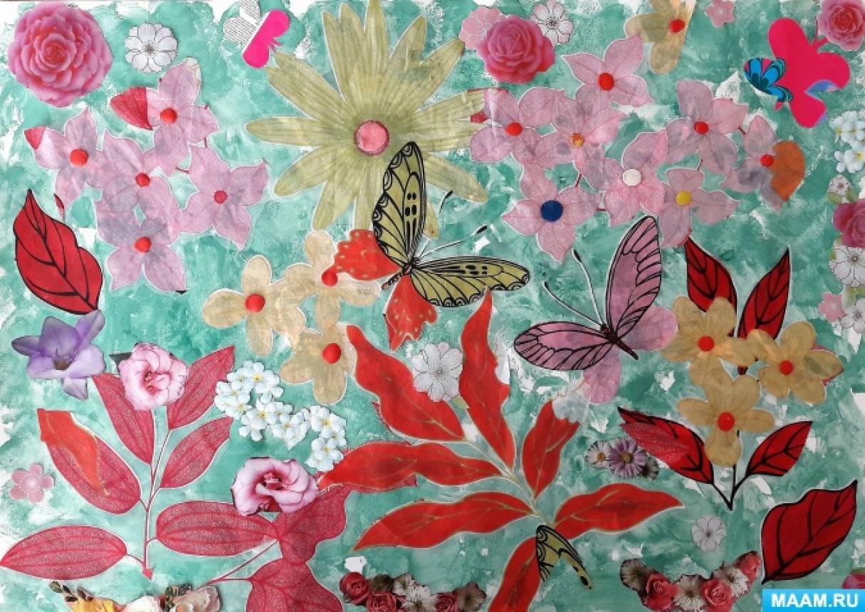 «Сказочные весенние цветы». Совместное творчество по аппликации из ткани в нетрадиционной технике детей 3–4 лет