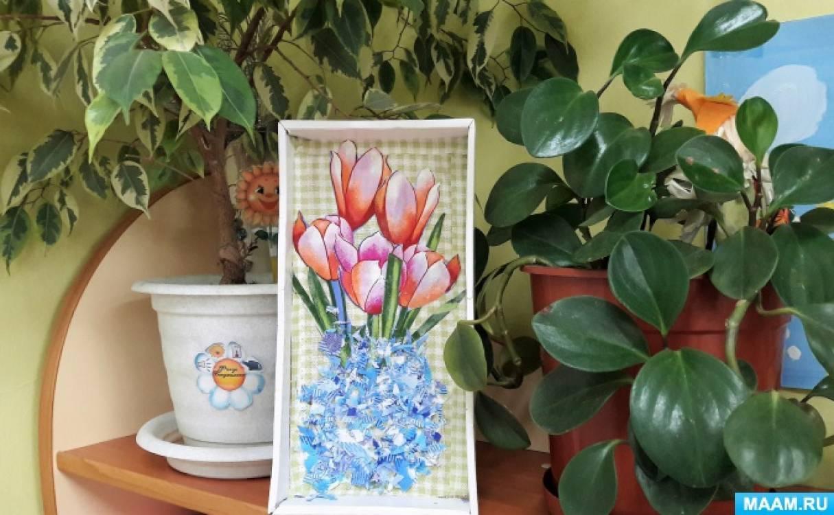 Коллективное творчество. Панно «Цветы в вазе». Аппликация из ткани (вторая младшая группа)