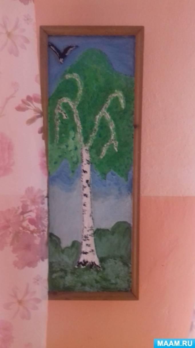 Картина «Березка» из туалетной бумаги