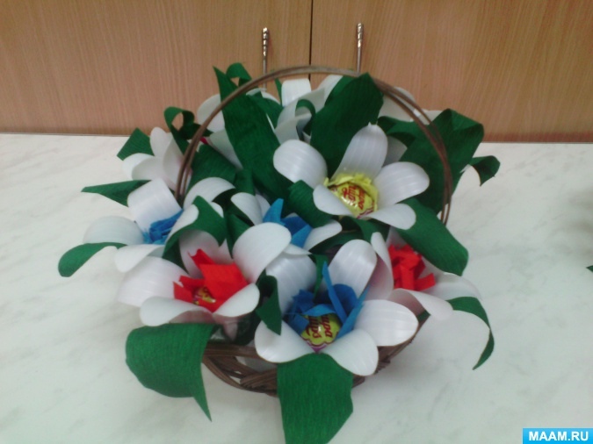 Мастер-класс по свит-дизайну с использованием бросового материала «Сладкие цветы»