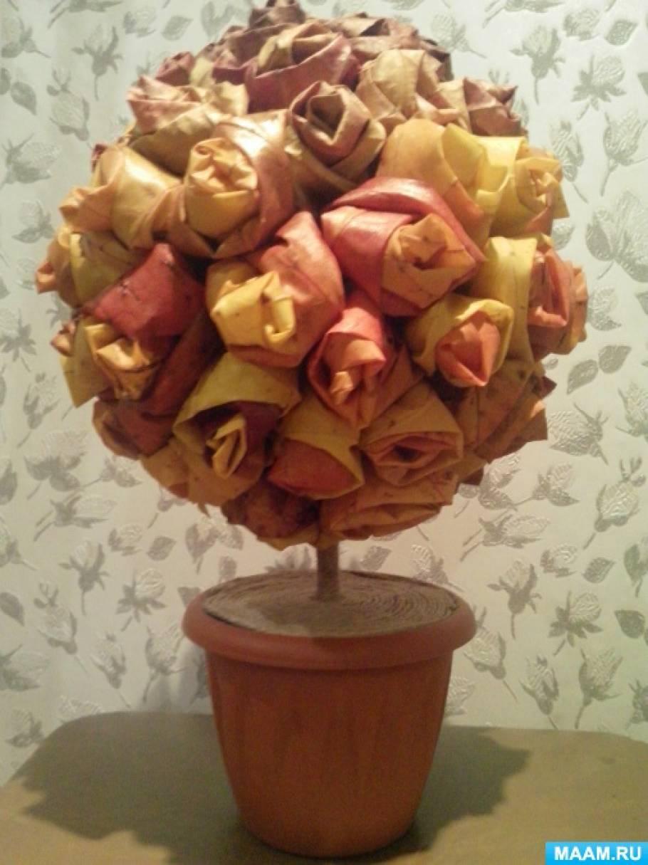 Мастер-класс из природного материала «Топиарий из кленовых роз»