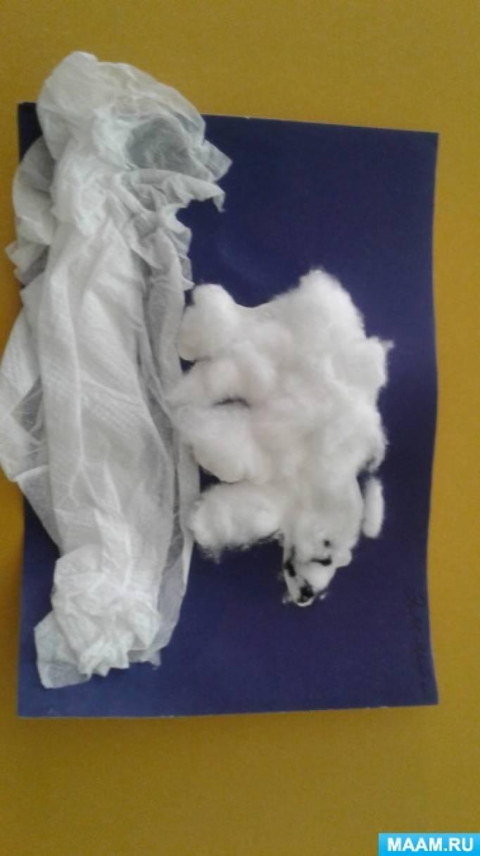 Конспект занятия по аппликации «Белый медведь»