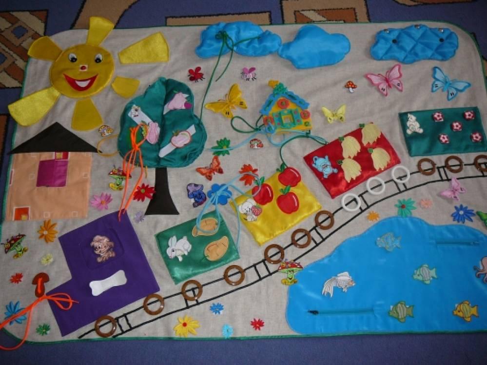 Сенсорный коврик для детей своими руками 23