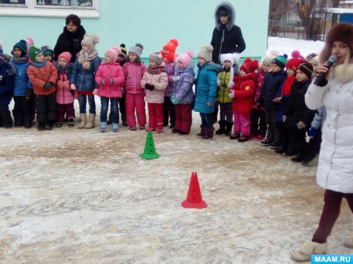 Зимние забавы и игры. Физкультурное развлечение на площадке детского сада