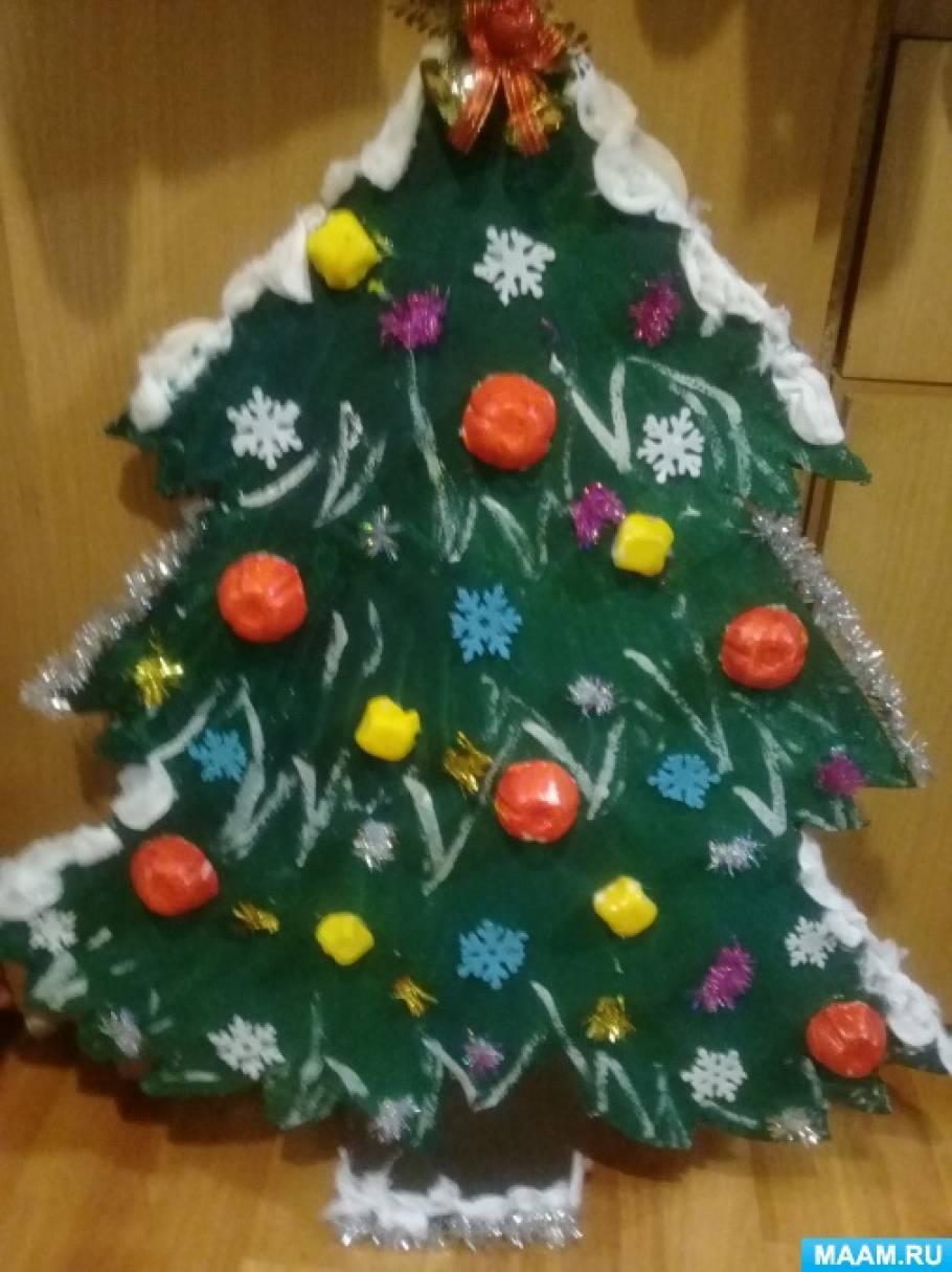 Мастер-класс «Новогодняя елочка» из бросового материала (для оформления группы)