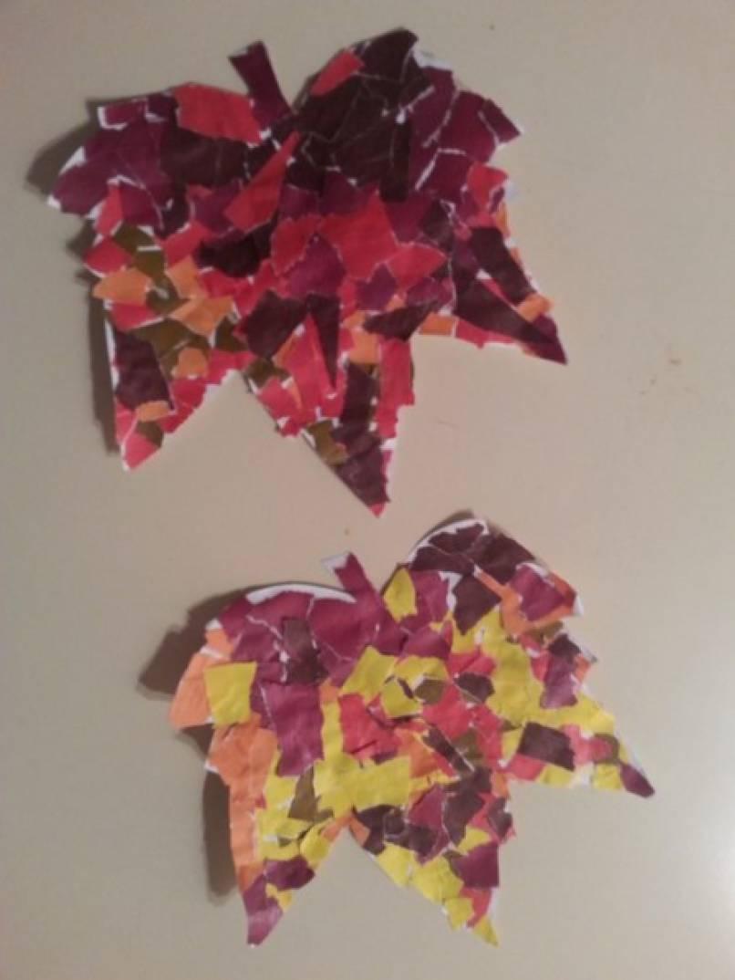 Обрывная аппликация в подготовительной группе «Листья по ветру летят»