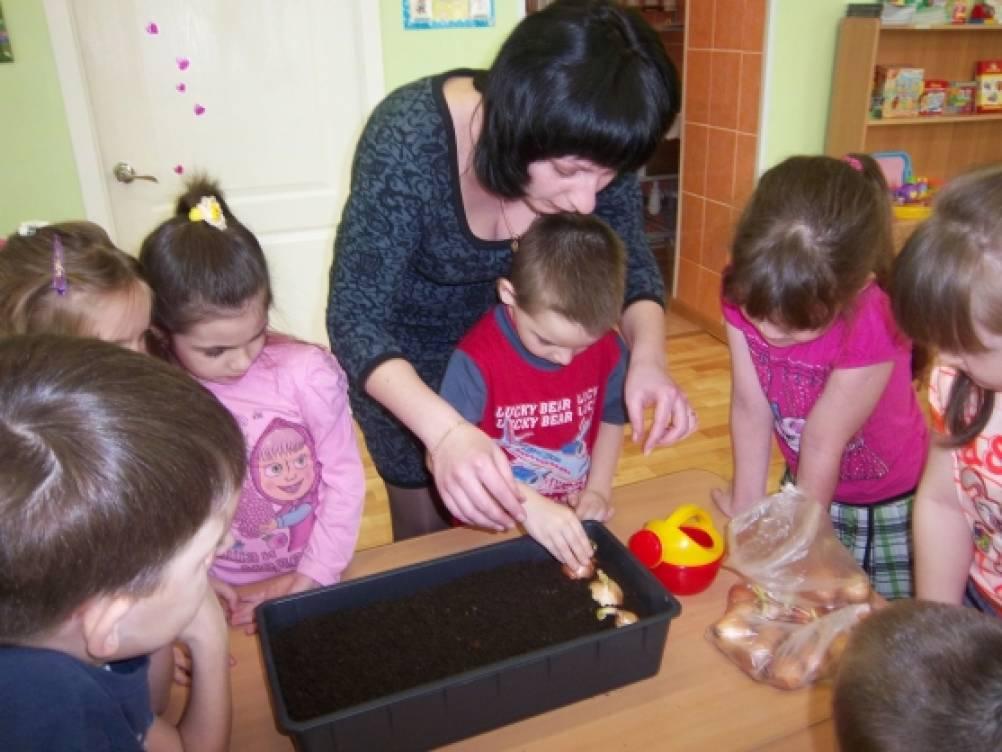 Дети сажают лук вместе с