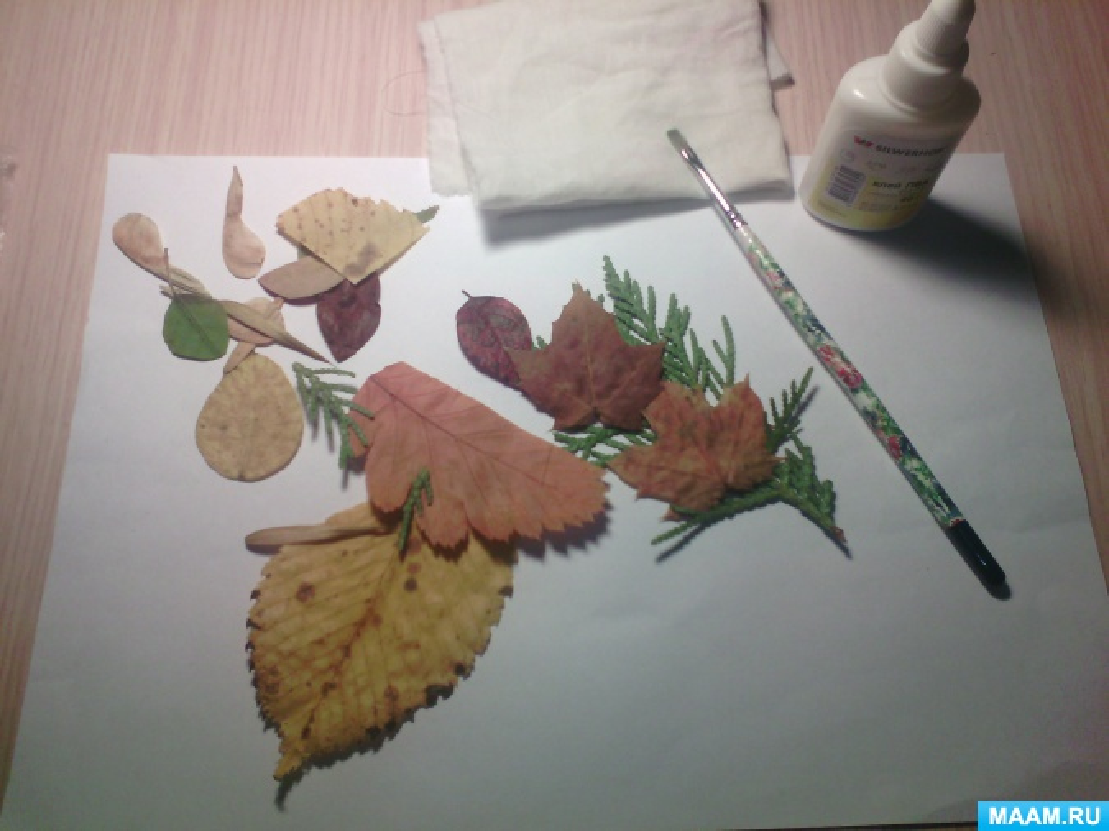 Мастер-класс по аппликации из осенних листьев на тему «Животный мир»