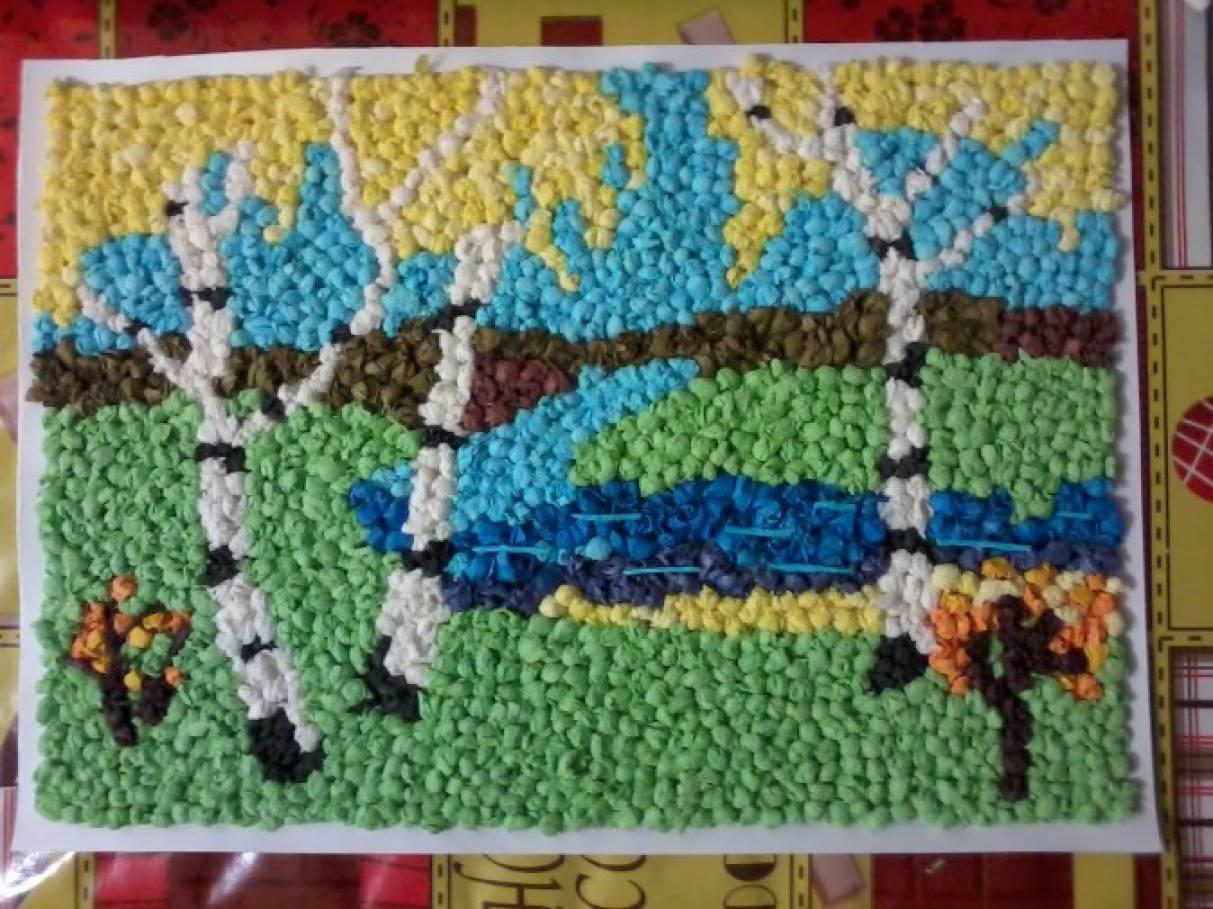 Картина из салфеток своими руками золотая осень 14