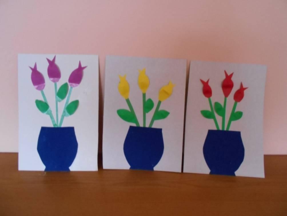 Февраля отправить, аппликация в средней группе открытка для мамы на 8 марта