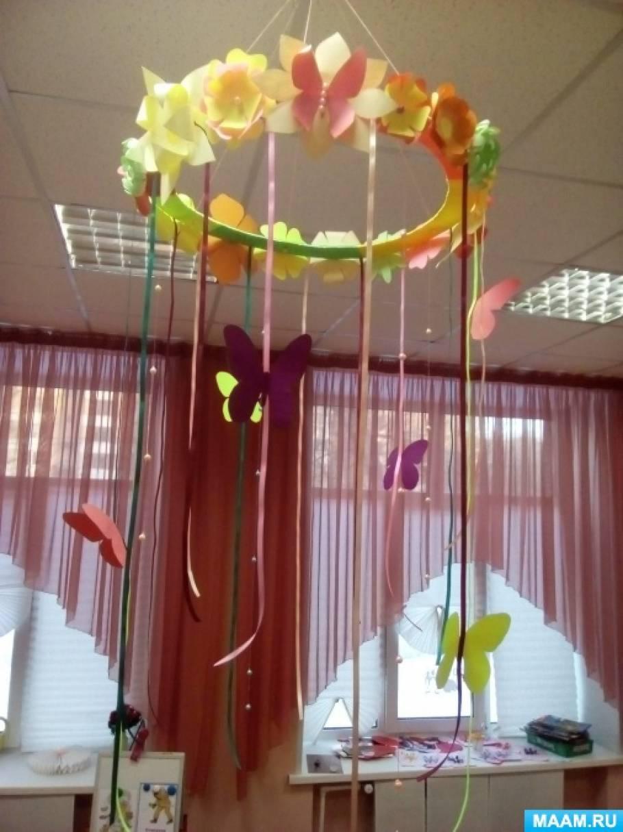 Мастер-класс «Изготовление весеннего мобиля из цветной бумаги, атласных лент и бусин»