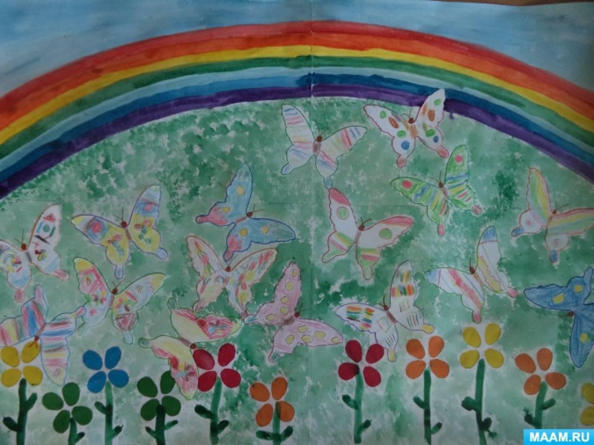 Летнее творчество. Коллективная работа «Бабочки-красавицы в ярких, цветных платьицах»
