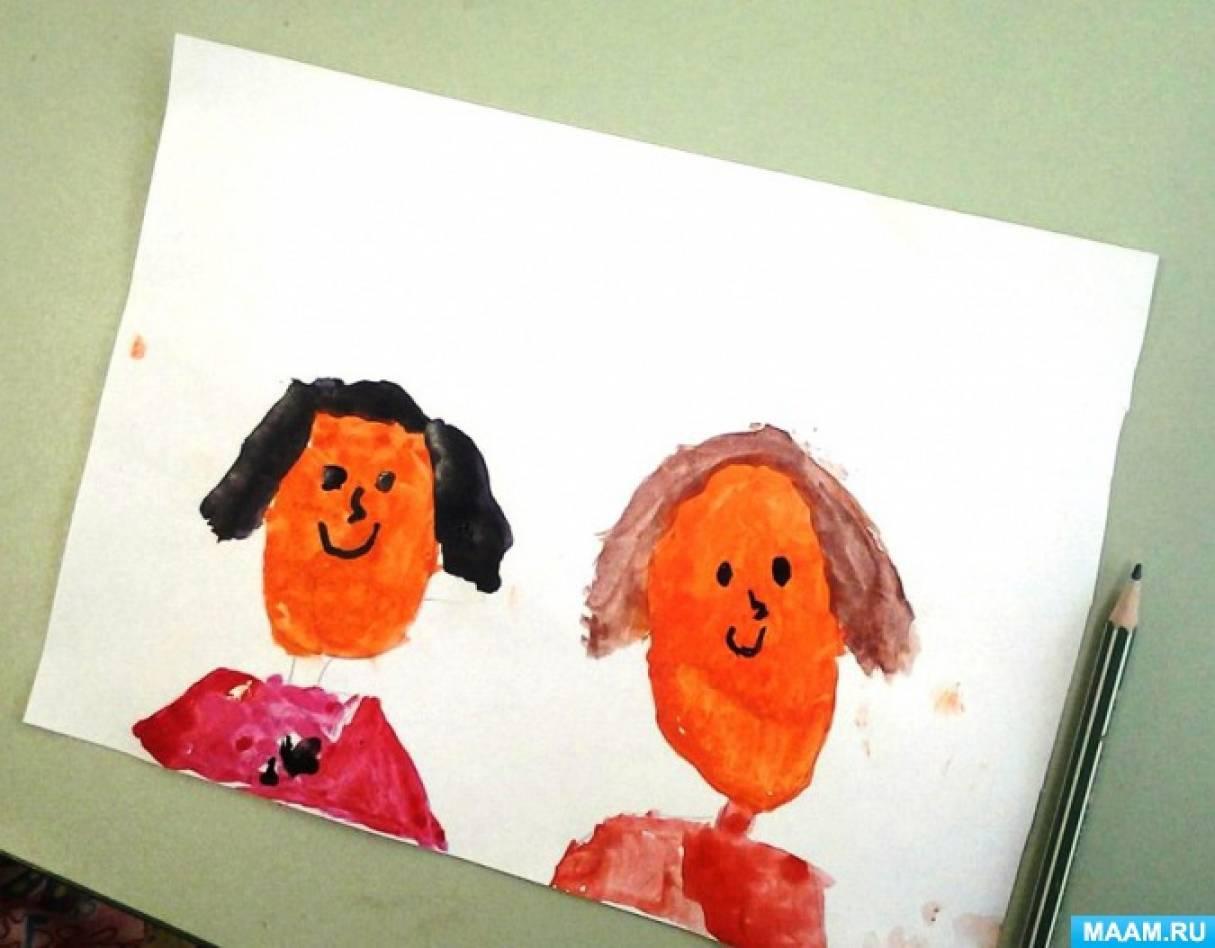 Отчёт о занятии. Рисование по представлению «Мы с мамой улыбаемся» (парный портрет анфас)