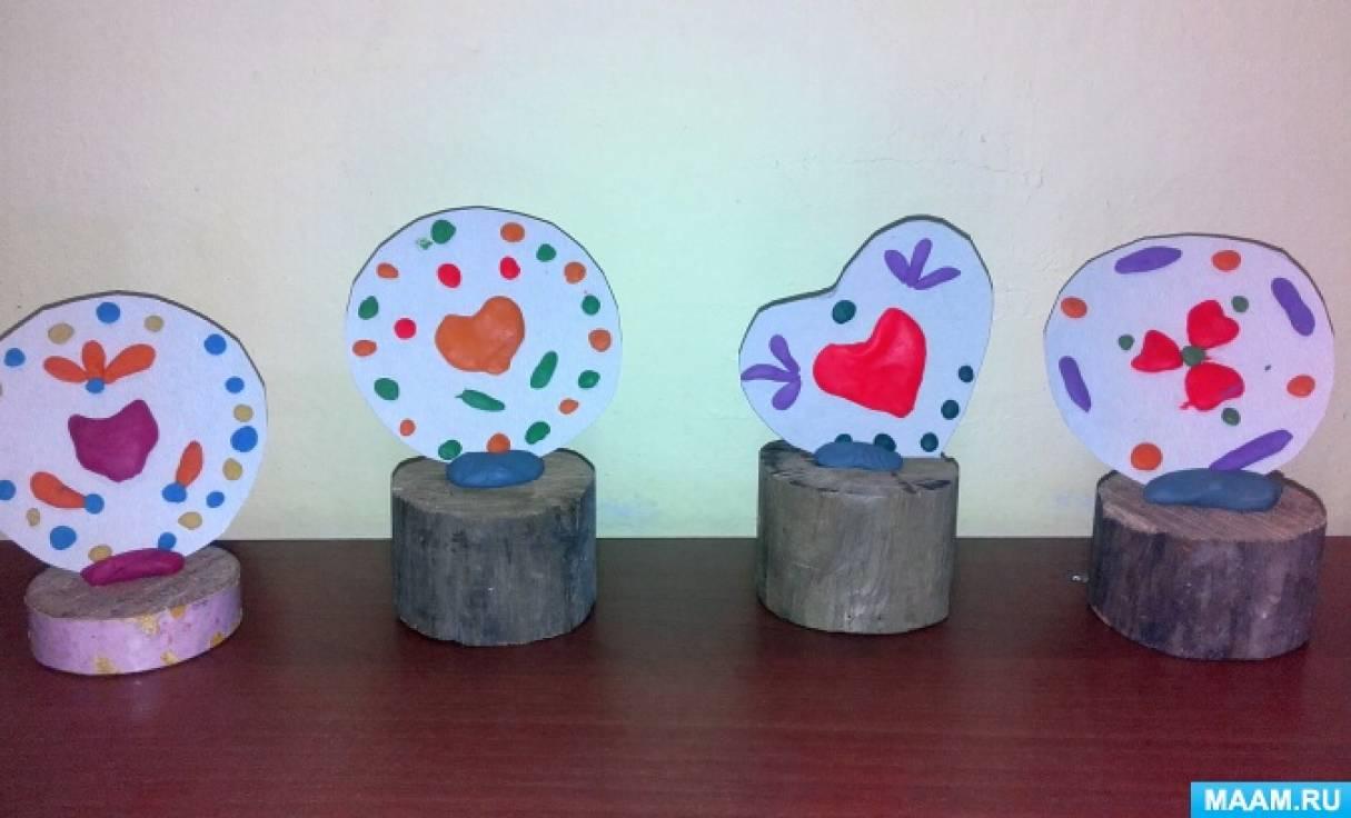 Лепка рельефная декоративная из пластилина «Цветы— сердечки»