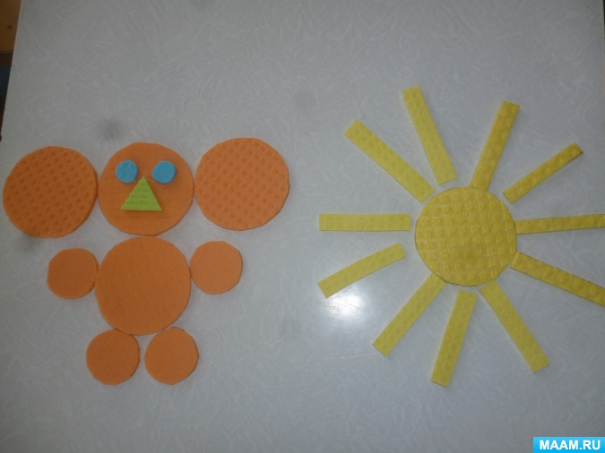 Дидактическая игра «Геометрические фигуры» из губчатых салфеток для младшей группы