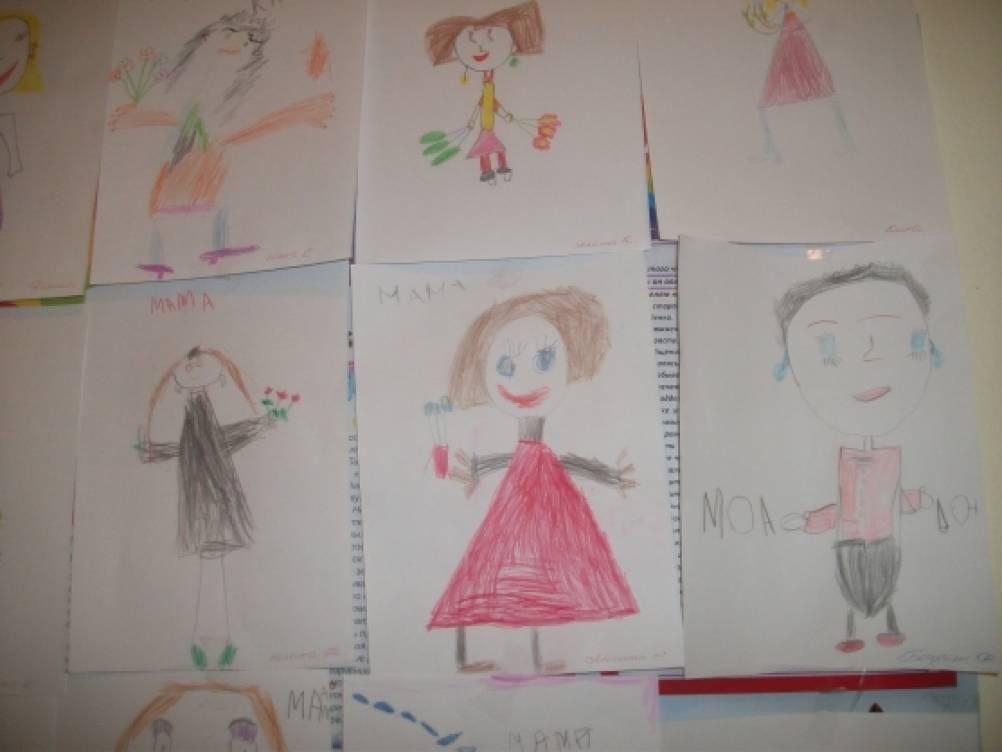 рисунки детей мама моя работает