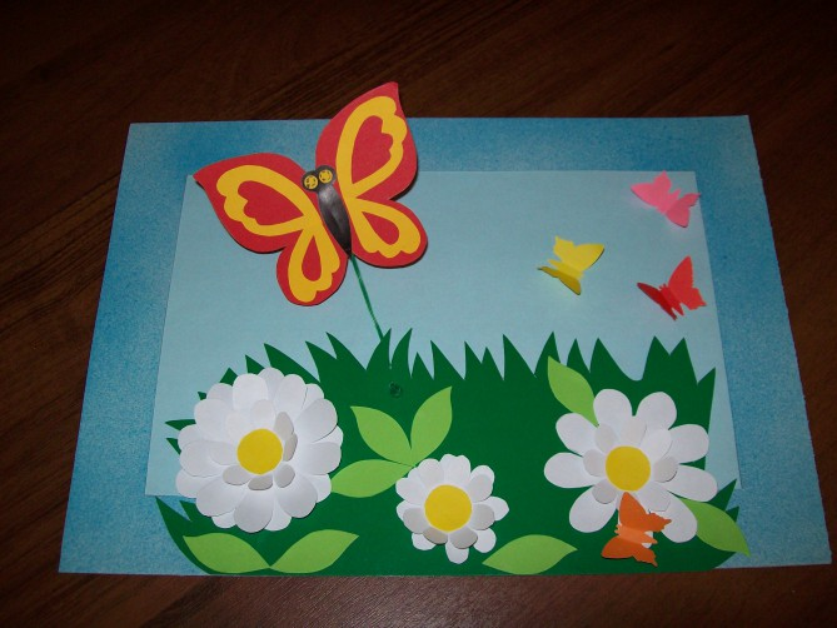 «Порхающая бабочка». Мастер-класс объёмной аппликации из картона и бумаги
