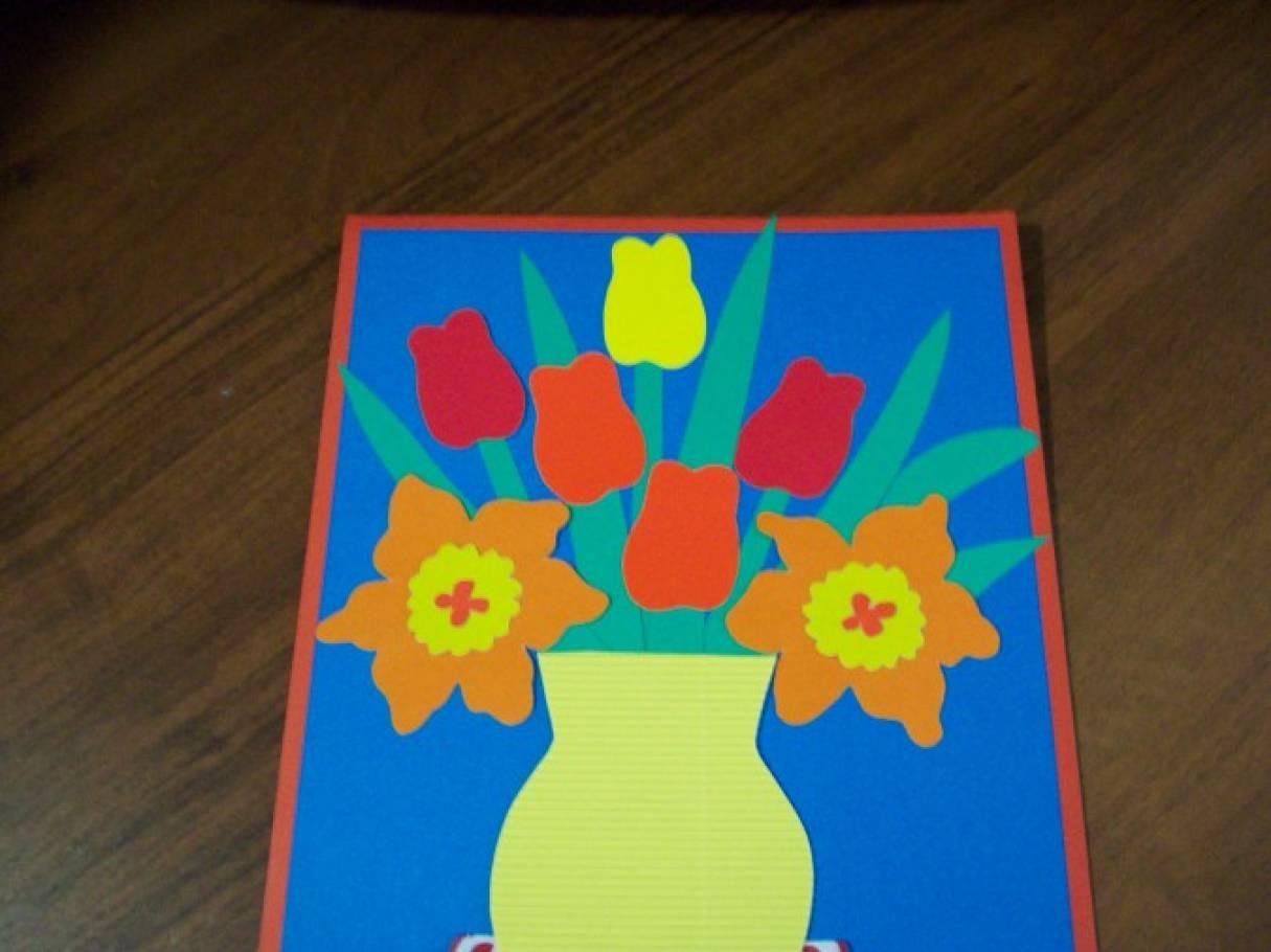 ваза с цветами из цветной бумаги на картоне все знают, можно