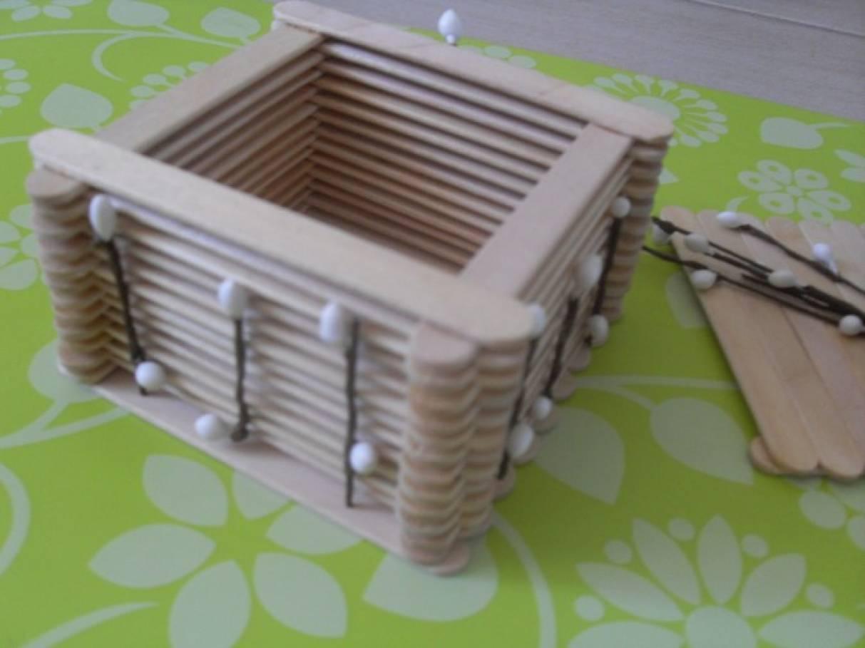 Ящик из палочек от мороженого своими руками 4