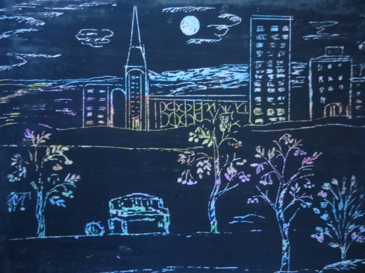 Детские рисунки ночной город