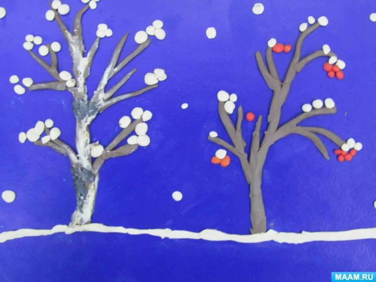 Фотоотчет о рельефной лепке «Дерево в снегу» с детьми средней группы