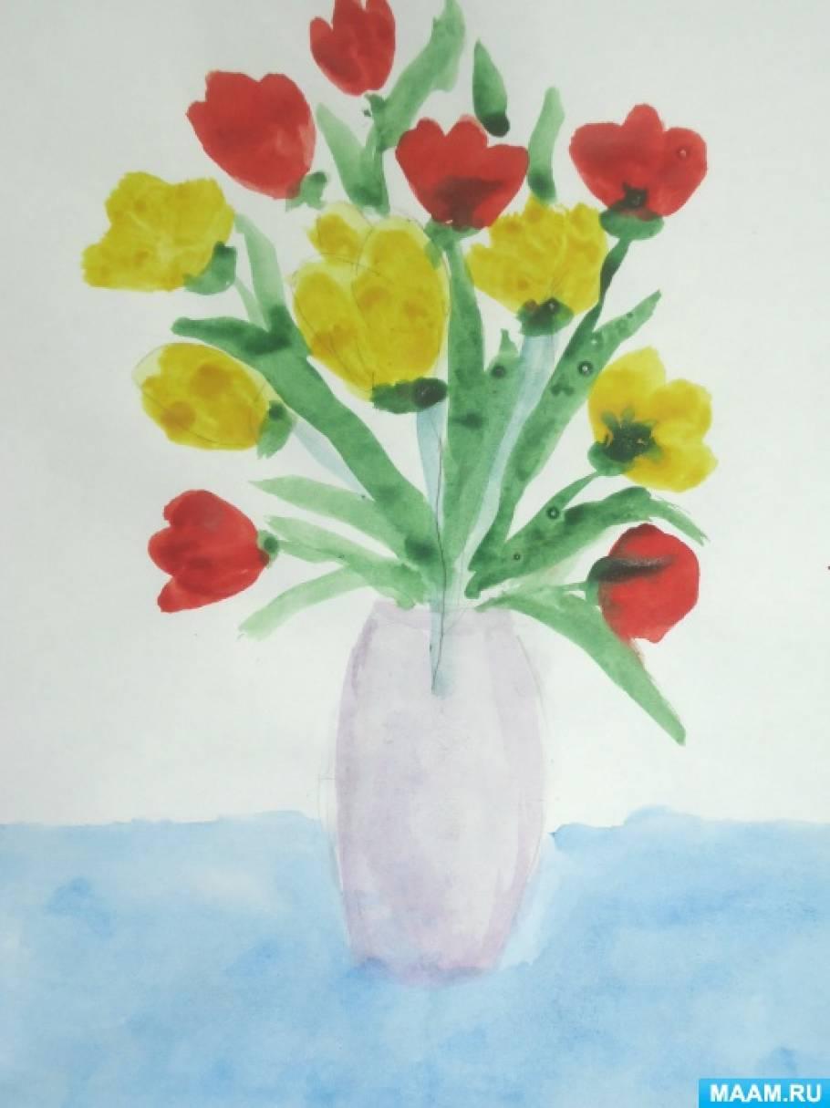 Конспект НОД по рисованию в подготовительной группе «Тюльпаны в вазе»