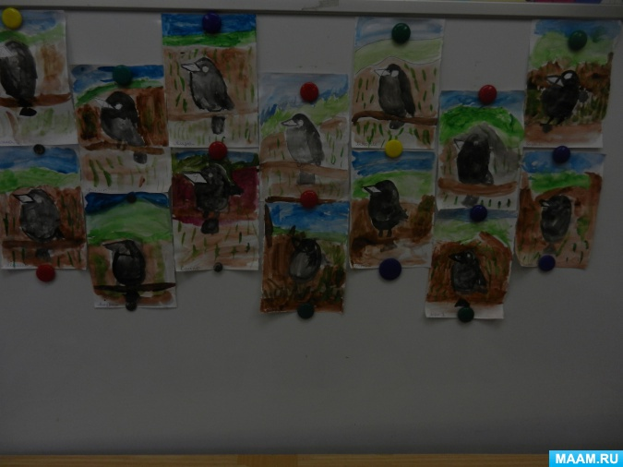 НОД по художественному творчеству в средней группе «Грач на ветке»