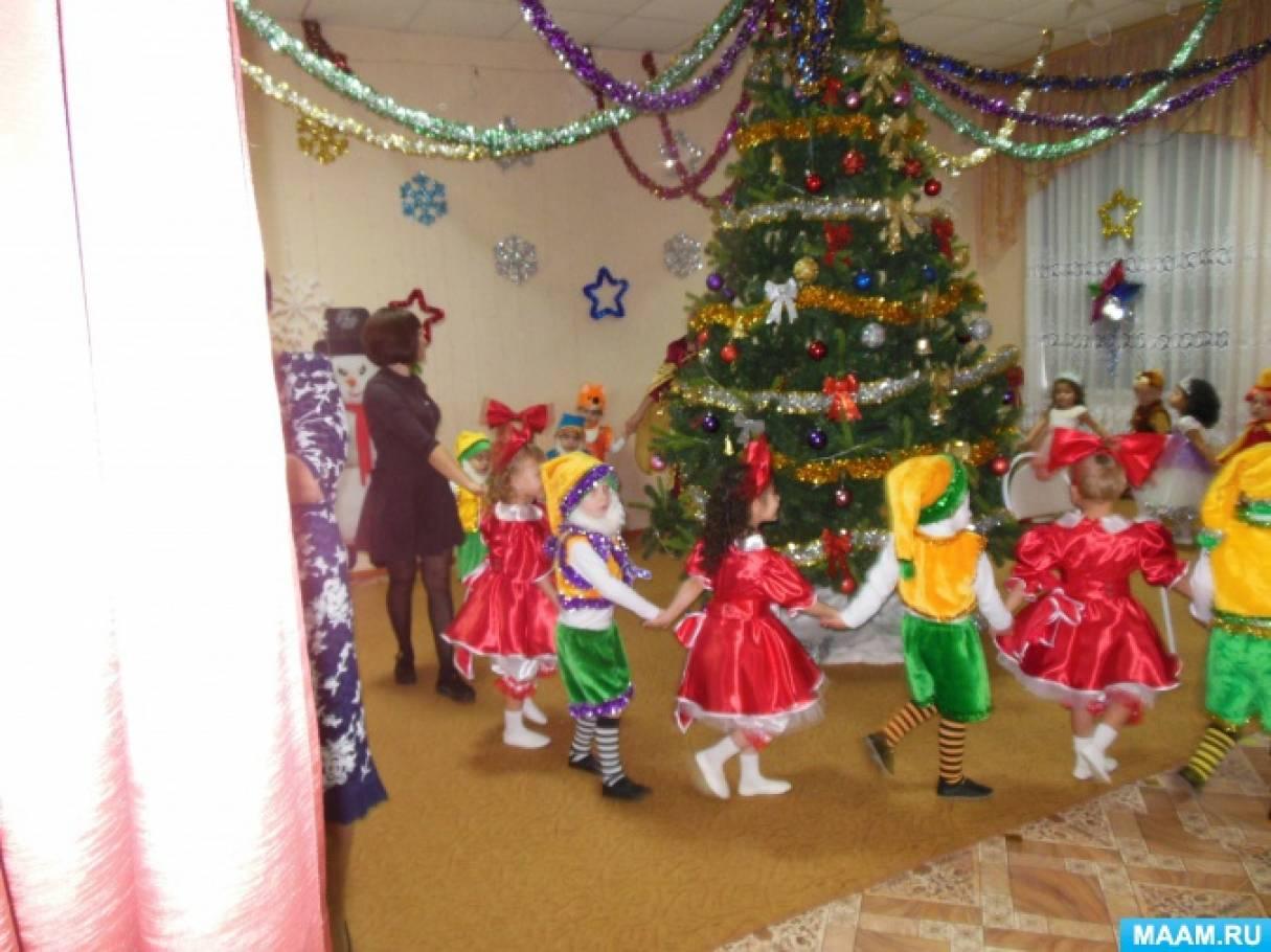 Фотоотчёт о новогоднем празднике в разновозрастной младшей группе «Волшебный бубен»
