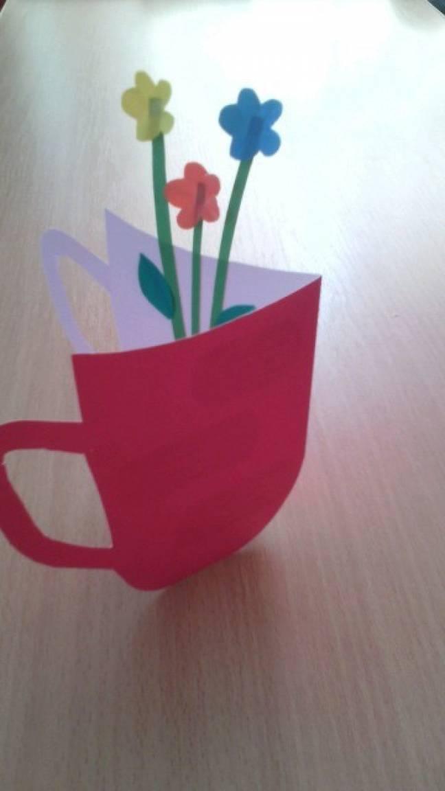 Конспект занятия по аппликации чашка открытка на 8 марта 6-7 лет, технике квиллинг