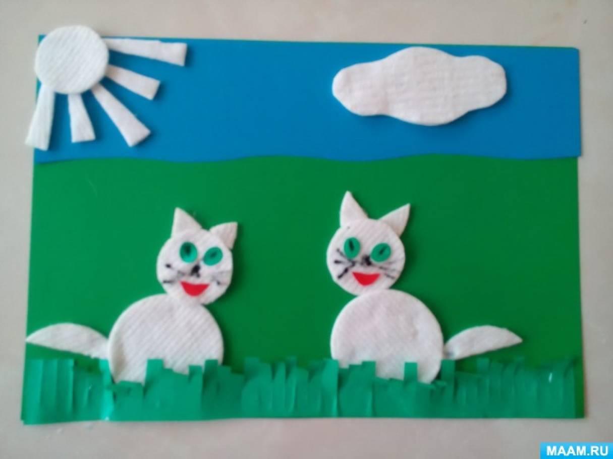 Поделки из ватных дисков кошка 38