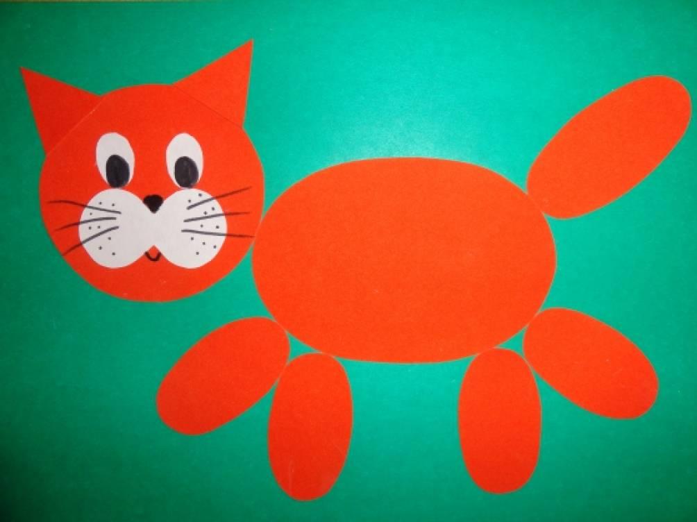 Мастер-класс по аппликации из геометрических форм «Разноцветные котята»