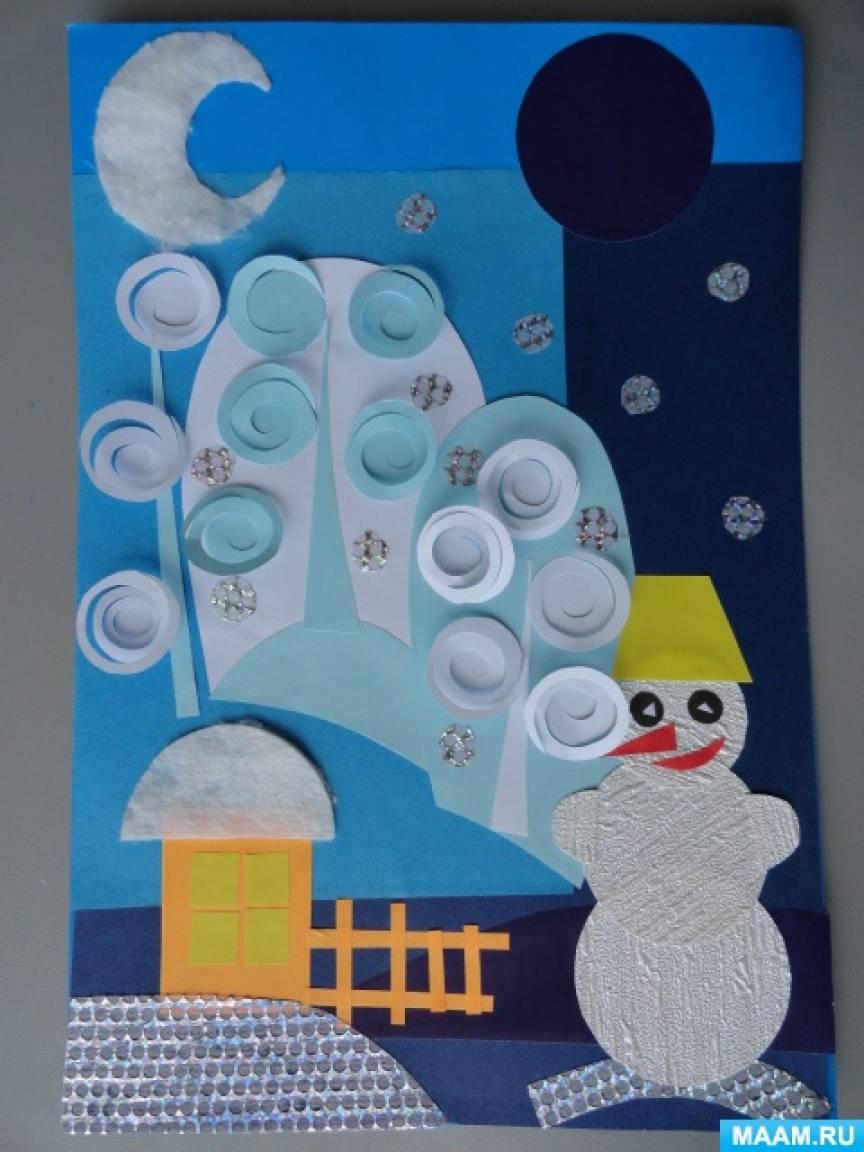 Мастер-класс коллажа «Пейзаж со снеговиком»