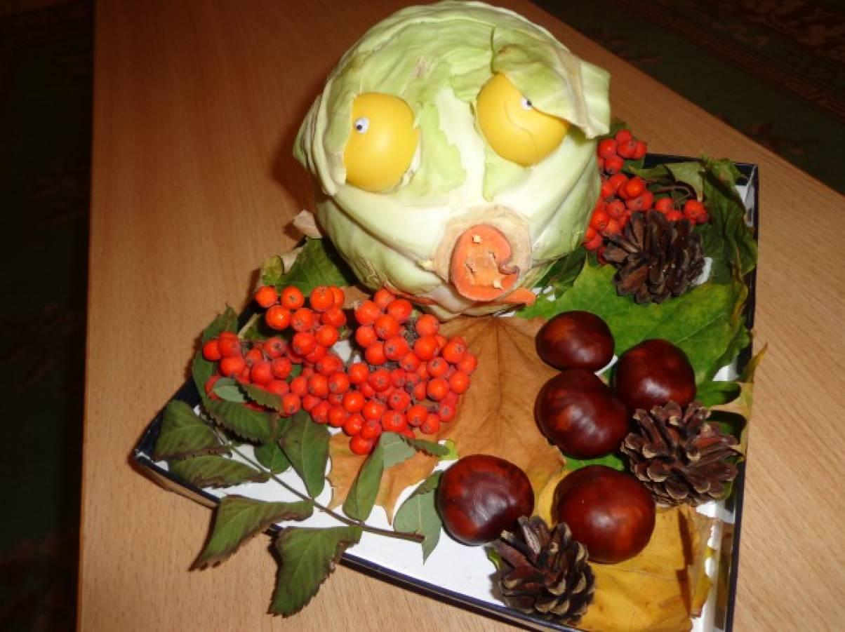 Поделки из овощей и фруктов и листьев