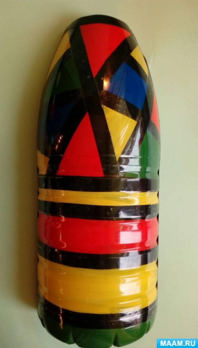 Витраж на пластиковой бутылке с использованием изоленты. Мастер-класс