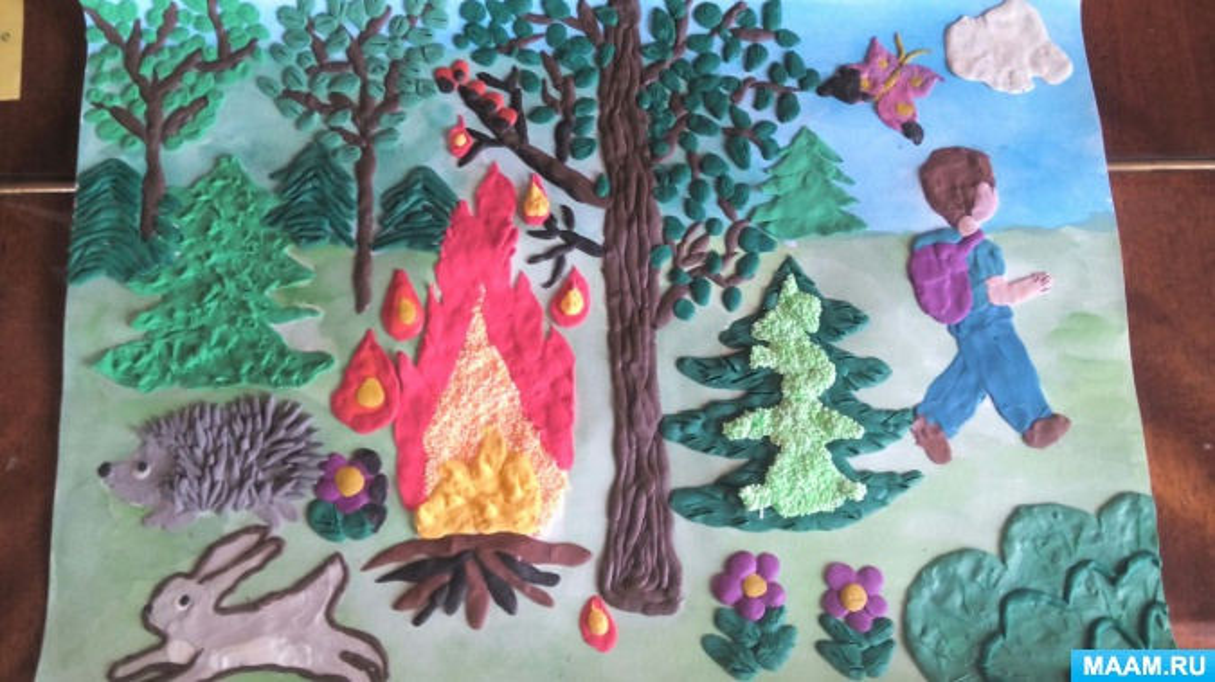 Конспект игровой образовательной ситуации по пластилинографии. Коллективная работа «Берегите лес от огня»