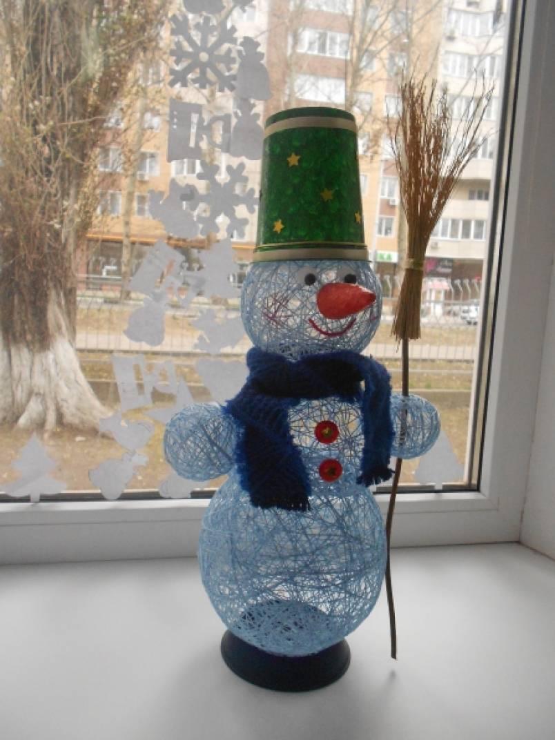 Снеговик поделка в детский сад из ниток 195