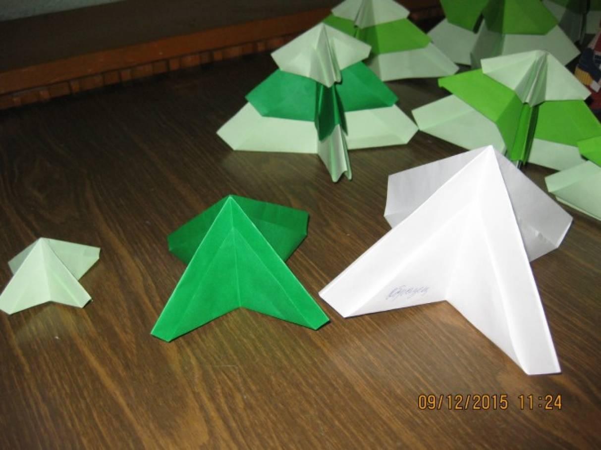 Елочка оригами в старшей группе