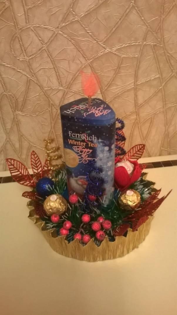 Подарки из кофет фруктов