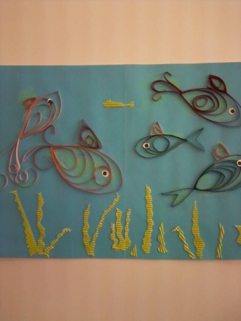 Конспект НОД по художественному творчеству в старшей группе «Аквариум» (коллективная работа из цветной бумаги и гофрокартона)