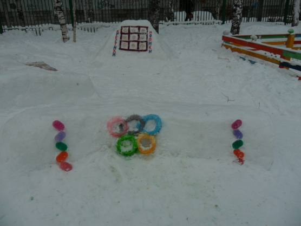 Как украсить детскую площадку зимой в детском саду 158