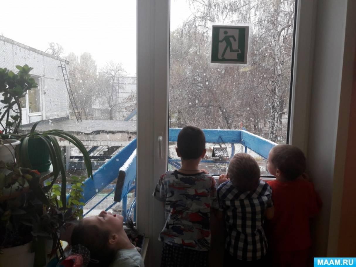 Наблюдение из окна за первым снегом. Фотоотчет