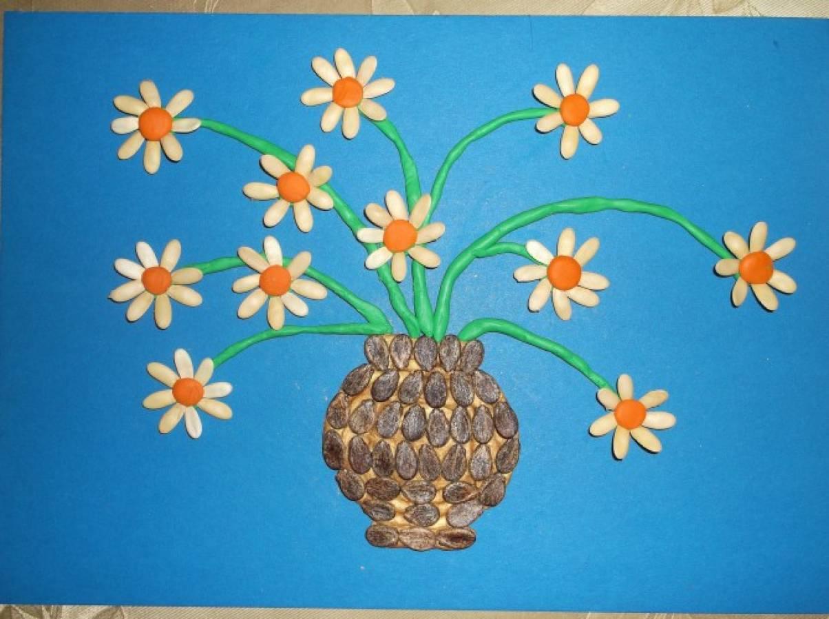 шаблон для открытки букет в вазе из тыквенных семечек автономное