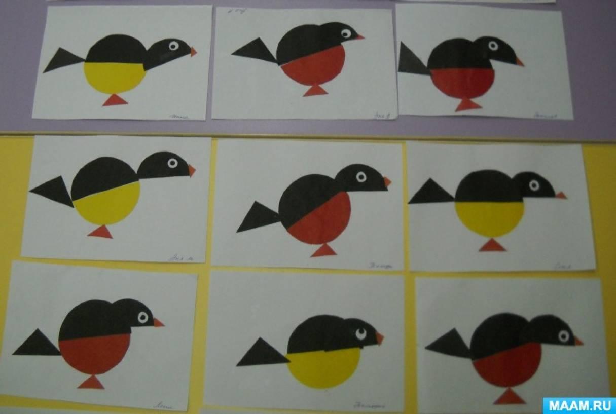 Конспект НОД по аппликации «Зимующие птицы. Снегири и синицы» в подготовительной группе