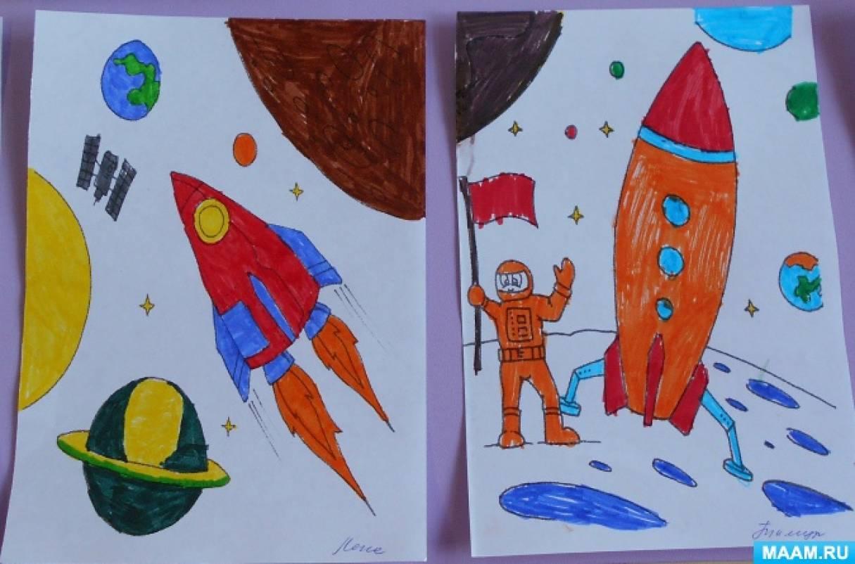 Фотоотчет о выставке детских работ «Полет в космос» в подготовительной группе