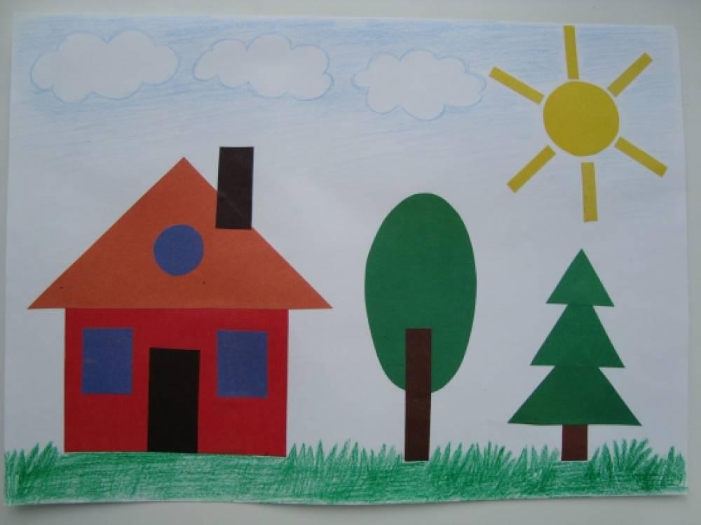 Картинки домов аппликация