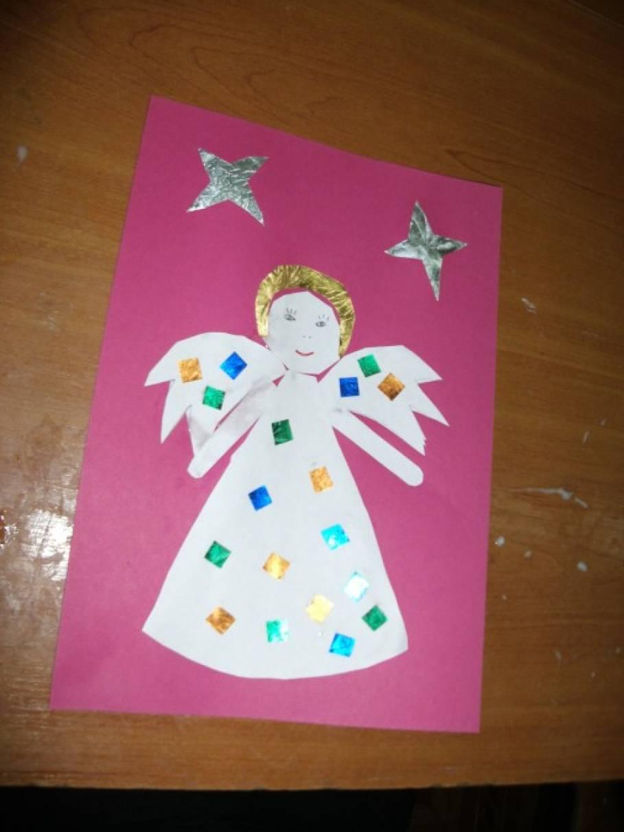 Аппликация рождественская открытка средняя группа, открытка день